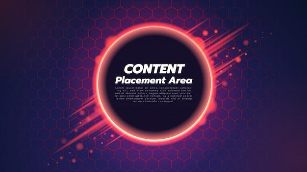 Abstracte achtergrond met zeshoek en cirkel in het midden. illustratie over technologieconcept.