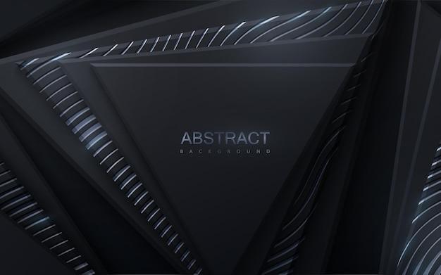 Abstracte achtergrond met zwarte geometrische driehoeksvormen geweven met zilveren glinsterende golvenpatroon