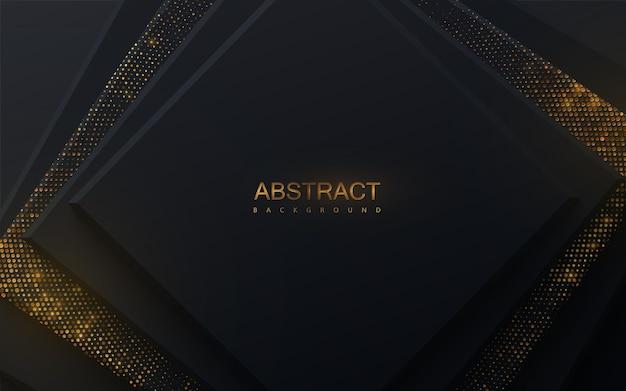 Abstracte achtergrond met zwarte vierkanten en glinsterende glitterpatroon