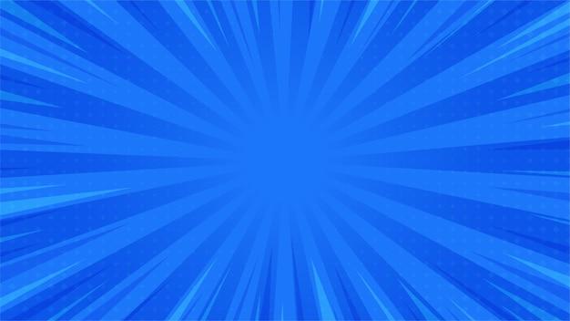 Abstracte achtergrond pop art comic verspreide lichtstralen zoom met halftoon vierkant.