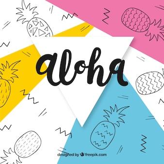 Abstracte achtergrond van aloha met ananas tekeningen
