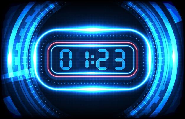 Abstracte achtergrond van blauw hud futuristisch element die digitaal nummer laden