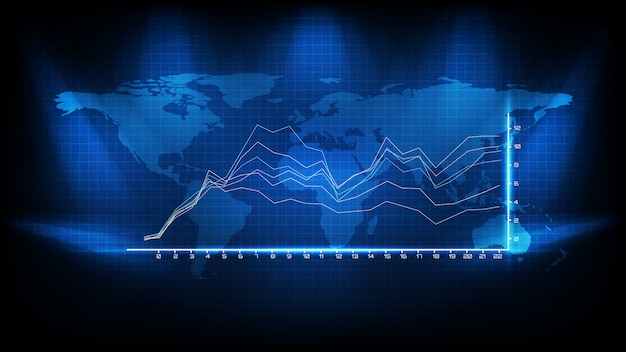 Abstracte achtergrond van blauwe gemiddelde grafiek en wereldkaart