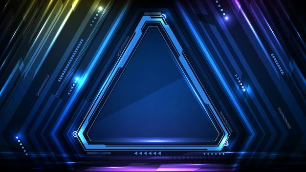 Abstracte achtergrond van blauwe gloeiende driehoek ster technologie sci fi frame hud ui