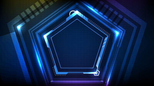 Abstracte achtergrond van blauwe gloeiende hexagon ster technologie sci-fi frame hud ui