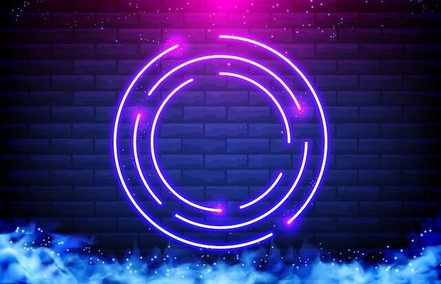 Abstracte achtergrond van cirkel neon frame, rook en bakstenen muur