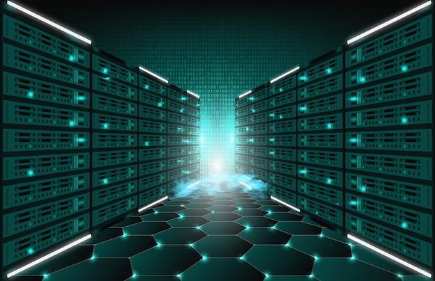 Abstracte achtergrond van de ruimte van de servergegevens van technologieinternet