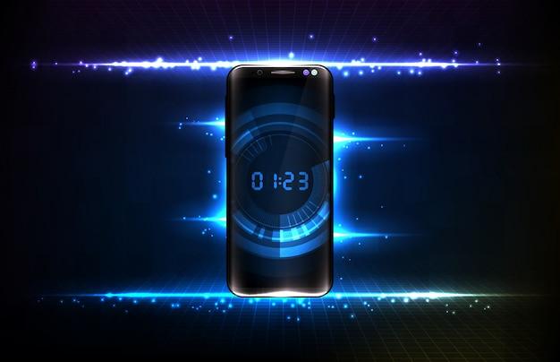 Abstracte achtergrond van futuristische technologie gebruikersinterface scherm hud met digitale nummer countdown timer op slimme mobiele telefoon