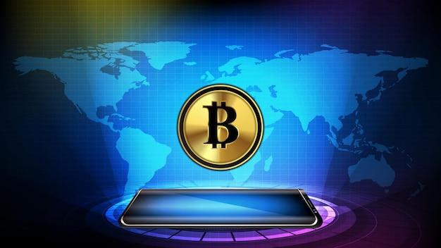 Abstracte achtergrond van futuristische technologie. gloeiende slimme mobiele telefoon met bitcoin cryptocurrency