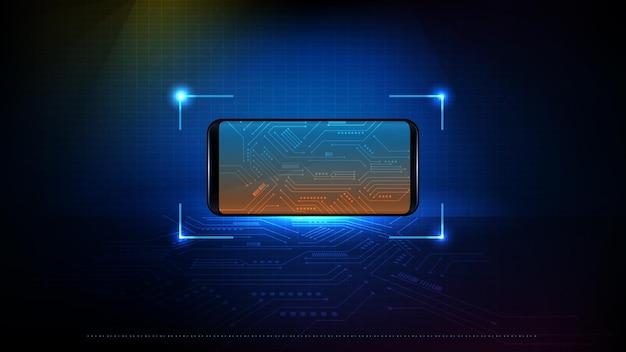Abstracte achtergrond van futuristische technologie slimme telefoon met circuit elektronische lijn