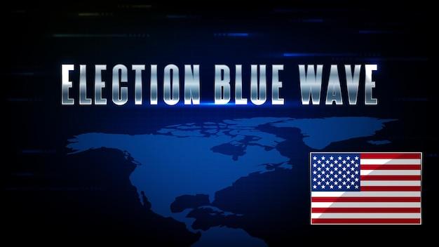 Abstracte achtergrond van futuristische technologie usa vlag wereldkaarten en amerikaanse verkiezingen blue wave aandelenmarkt