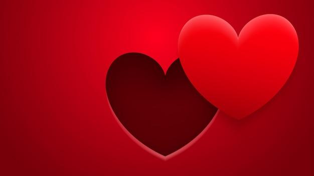 Abstracte achtergrond van gat en hart met schaduw in rode kleuren
