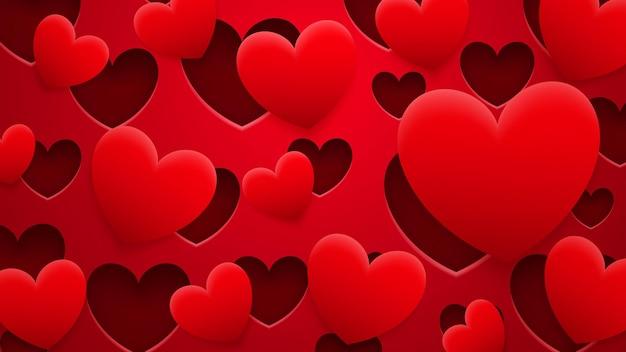 Abstracte achtergrond van gaten en harten met schaduwen in rode kleuren
