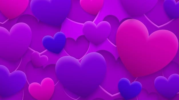 Abstracte achtergrond van gaten en harten met schaduwen in rode, roze en paarse kleuren Premium Vector