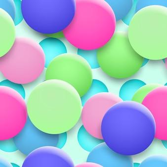 Abstracte achtergrond van gaten en veelkleurige cirkels met schaduwen