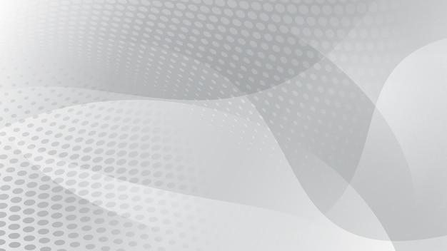 Abstracte achtergrond van gebogen lijnen, rondingen en halftoonpunten in witte en grijze kleuren