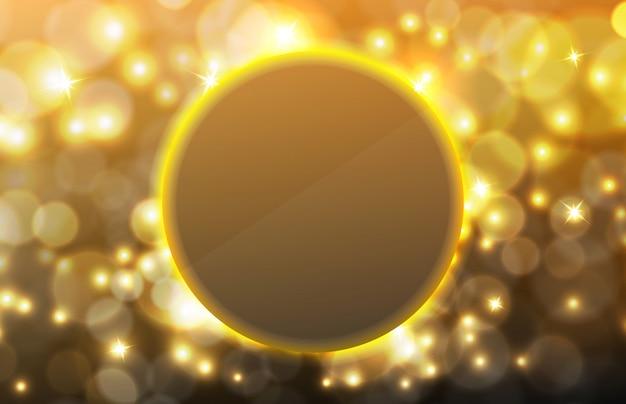 Abstracte achtergrond van gloeiend gouden kleurenstof met deeltje en bokeh