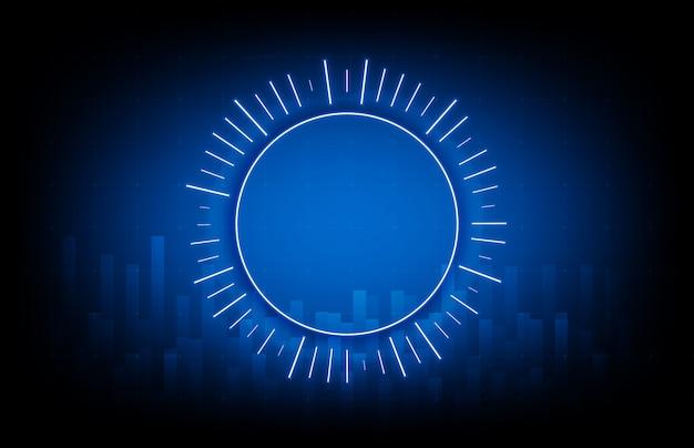 Abstracte achtergrond van gloeiende blauwe technologie om vorm