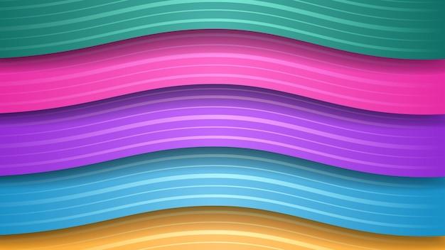 Abstracte achtergrond van golvende gekleurde strepen met schaduwen