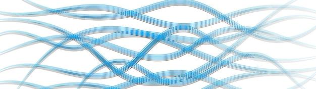 Abstracte achtergrond van golvende ineengestrengelde lijnen met schaduwen, lichtblauw op wit
