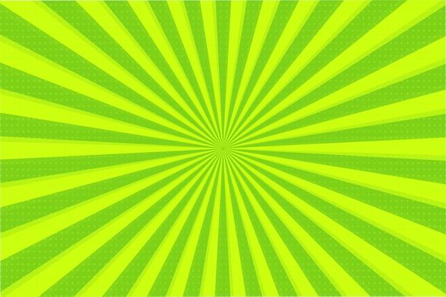Abstracte achtergrond van groene en gele stralen