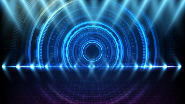 Abstracte achtergrond van het ronde futuristische scherm van de technologiegebruikersinterface hud en het aansteken van de lege achtergrond van de stadiumschijnwerper