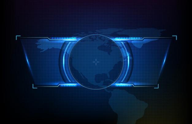 Abstracte achtergrond van het ronde futuristische scherm van de technologiegebruikersinterface hud met de kaarten van de vs