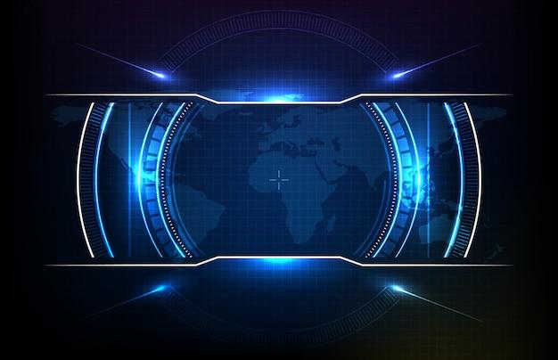 Abstracte achtergrond van het ronde futuristische scherm van de technologiegebruikersinterface hud