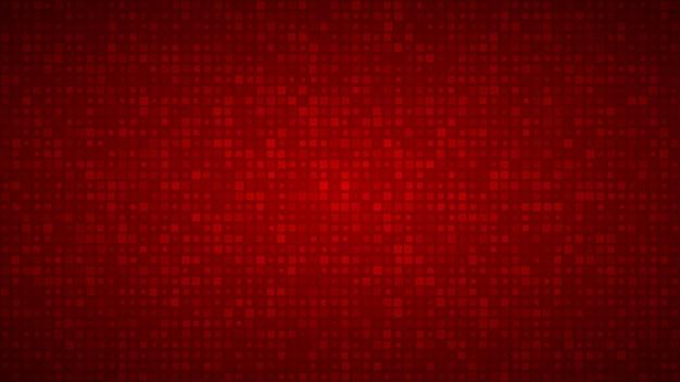 Abstracte achtergrond van kleine vierkantjes of pixels van verschillende groottes in rode kleuren.