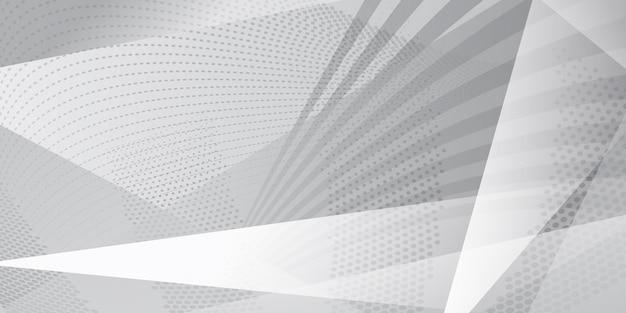 Abstracte achtergrond van kruisende lijnen, veelhoeken en stippen in witte en grijze kleuren