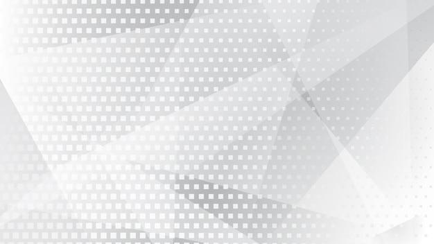 Abstracte achtergrond van lijnen, veelhoeken en halftoonpunten in witte en grijze kleuren