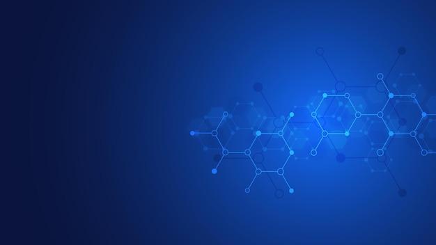 Abstracte achtergrond van moleculen. moleculaire structuren. wetenschappelijk, technisch of medisch concept.