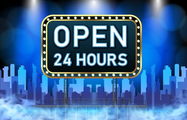 Abstracte achtergrond van neon open 24 uur teken