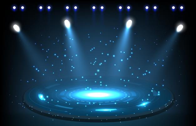Abstracte achtergrond van podium met spotlight technologie concept