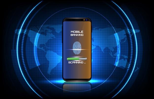 Abstracte achtergrond van ronde futuristische technologie gebruikersinterface scherm hud met vingerafdruk login systeem op slimme mobiele telefoon