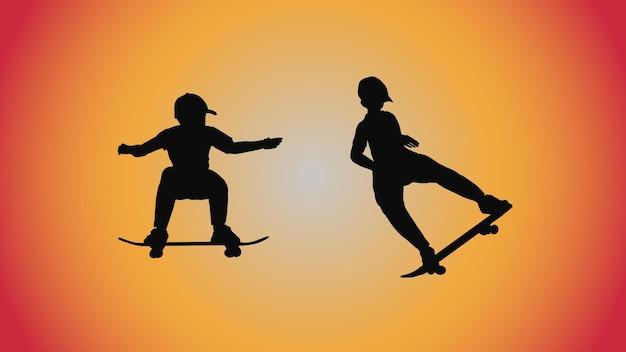 Abstracte achtergrond van silhouet skateboard pose verplaatsen trick