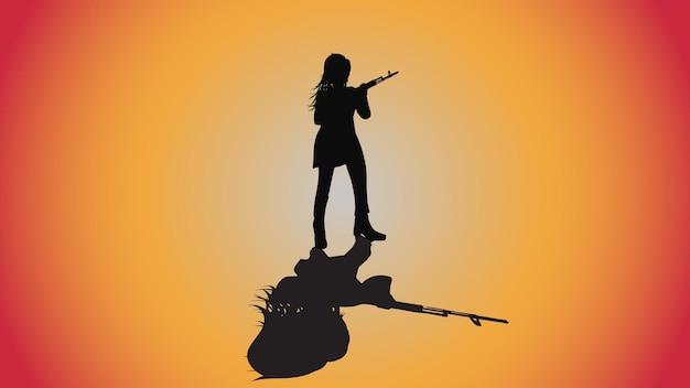 Abstracte achtergrond van silhouet vrouw met ak 47 gun pose