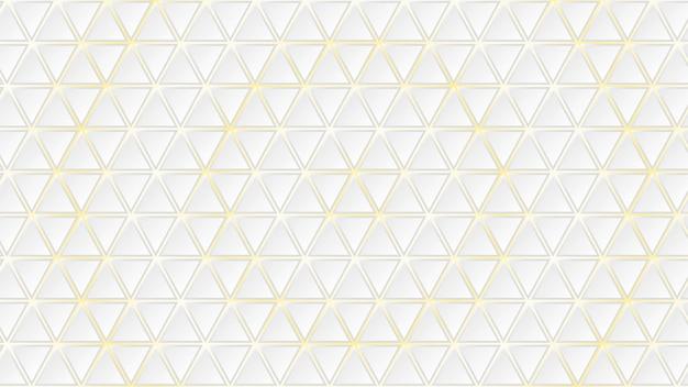 Abstracte achtergrond van witte driehoekige tegels met gele gaten ertussen