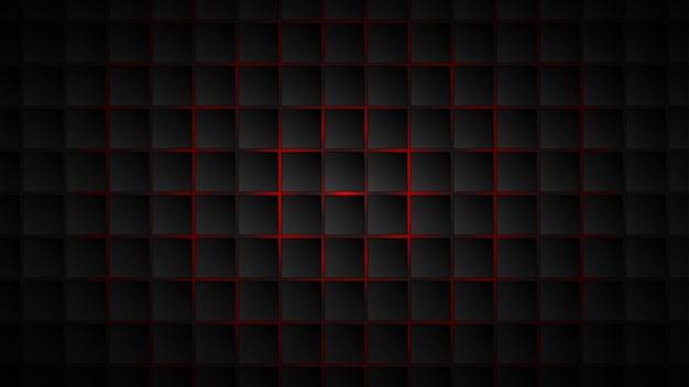 Abstracte achtergrond van zwarte vierkante tegels met rode openingen ertussen
