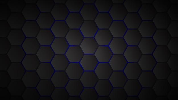 Abstracte achtergrond van zwarte zeshoekige tegels met blauwe openingen ertussen