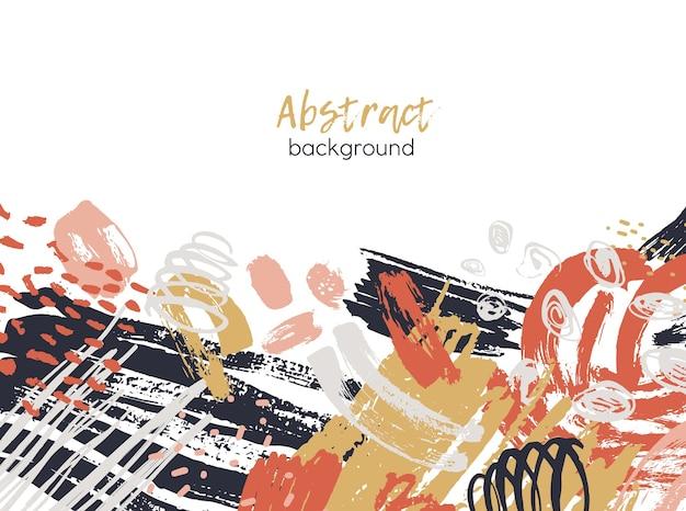 Abstracte achtergrond versierd met kleurrijke chaotische verfsporen en ruwe penseelstreken