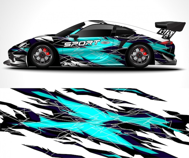 Abstracte achtergrond voor racen sport car wrap ontwerp en voertuig kleurstelling