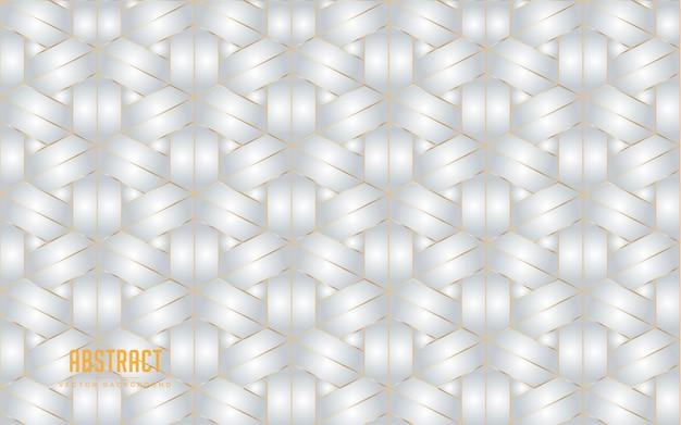 Abstracte achtergrond zeshoek grijze en witte kleur met gouden lijn. moderne minimale eps 10