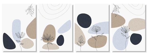 Abstracte achtergronden met minimale vormen en lijntekeningen bloem en blad.
