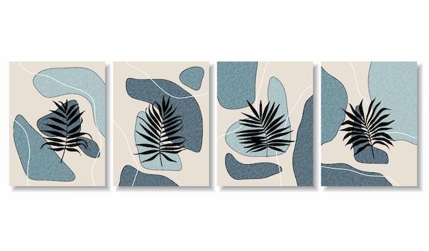 Abstracte achtergronden met minimale vormen en lijntekeningen bloem en blad