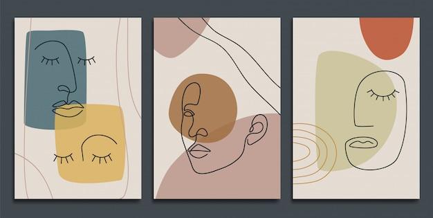 Abstracte achtergronden met minimale vormen en lijntekeningen.