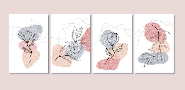 Abstracte achtergronden met minimale vormen en lijntekeningen