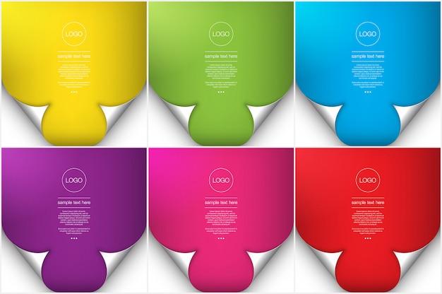 Abstracte achtergronden set van 6. heldere kleur papier stijl achtergronden met curl pagina-effect.