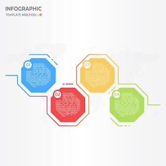 Abstracte achthoek infographic 4 opties