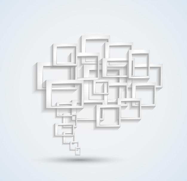 Abstracte adreskaartjeachtergrond met een conceptuele toespraakbel die in 3d wordt gemaakt
